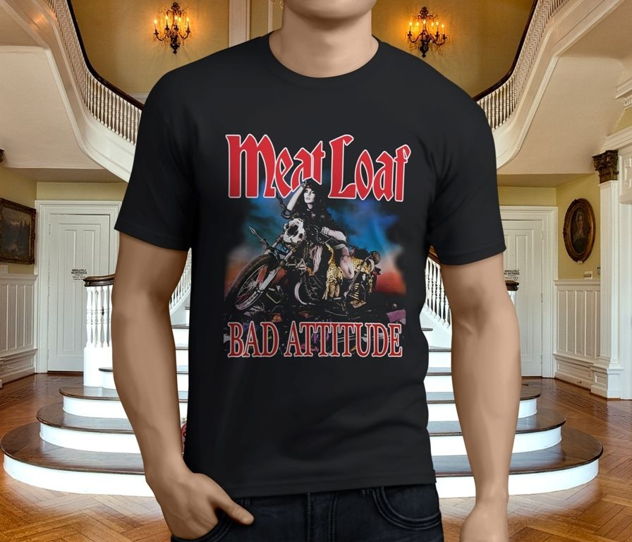 New Popular Meat Loaf Bad Attitude Men's Black T-Shirt Size S-3XL T Shirt Funny T-Shirt Men O-Neck Tee Shirt Top Tee image