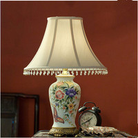 New Chinese National Style Handpainted Ceramic Table Lamps Rural Fabric Art E27 LED Lamp For Bookstore