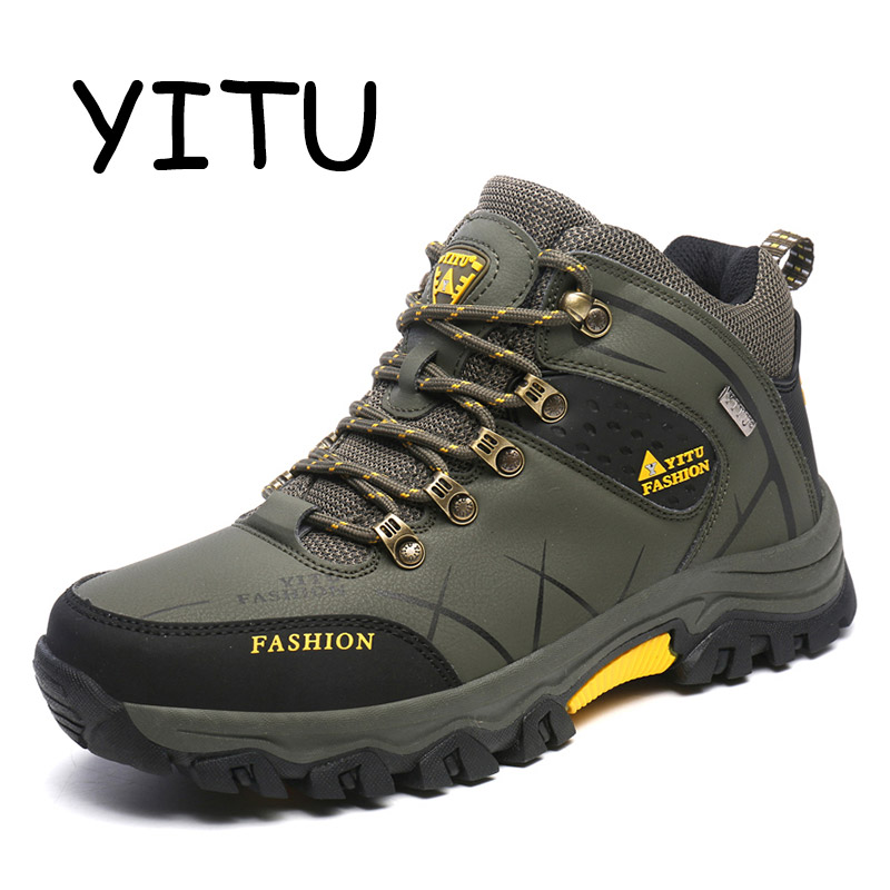 YITU Men Outdoor Hiking Shoes Outventure Tactical Shoes Autumn Big Size Winter Sneakers High Top Breathable