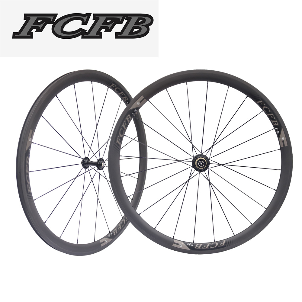 2017 FCFB Road  Clincher Carbon Wheels 700C 38mm Ultra Light Tubular Wheels Carbon Road Bike 23mm Width Bicycle Wheel Set new design carbon wheel titanium material light and more safe 50mm clincher 700c