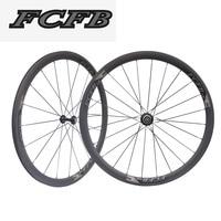 2017 FCFB Road Clincher Carbon Wheels 700C 38mm Ultra Light Tubular Wheels Carbon Road Bike 23mm Width Bicycle Wheel Set