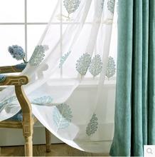 1 ШТ. 2 цвет высококачественный хлопок вышитые льняные шторы готовые шторы для Гостиной/Спальни дети тюль шторы
