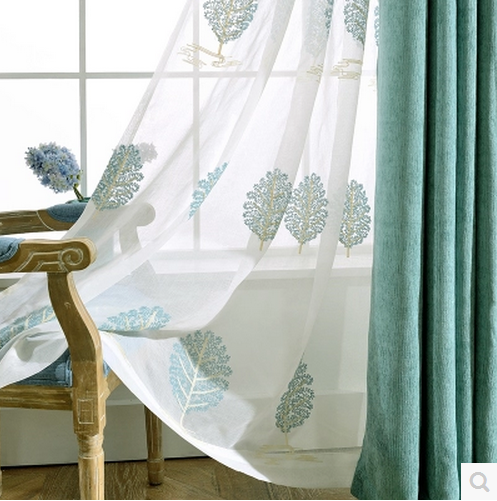 1pc 2 Color High Grade Cotton Embroidered Linen Curtains Ready Made For Living Room Bedroom Kids Tulle