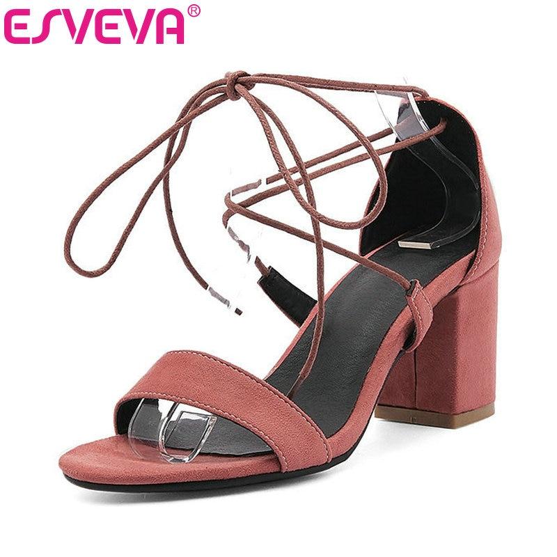 ESVEVA 2017 Bohemia Lace Up Fashion Sandals Flock  Elegant Wedding Summer Shoes Square High Heel Women Sandals Big Size 34-43 цены онлайн
