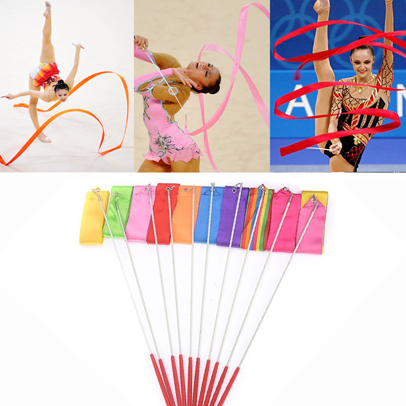 2M/4M Colorful Gym Ribbon Dance Ribbon Rhythmic Art Gymnastic Ballet Streamer Twirling Rod Stick For Gym Training Professional