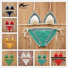 2018 Crochet Bikini Sexy Swimwear Women Halter Handmade Knitting Swimsuit Bathing Suit Brazilian Bikinis Biquini maillot de bain
