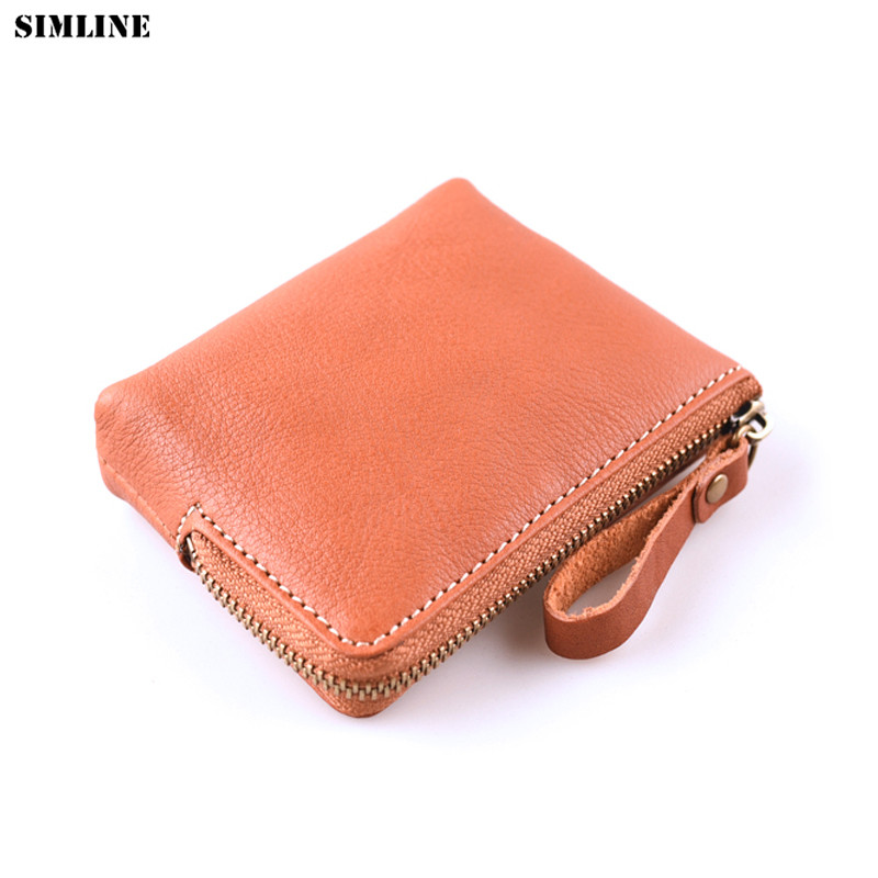 SIMLINE Genuine Leather Coin Purse Women Vintage Handmade Small Mini Wallet Credit Card Holder Bag Case Zipper Change Purses