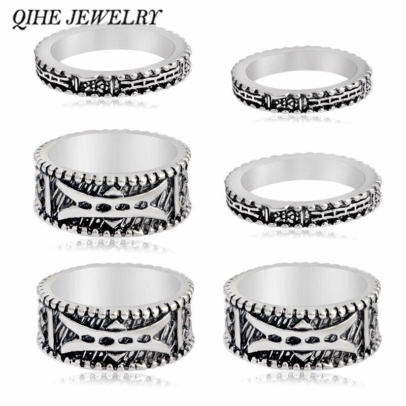 050431c72fab Qihe joyería 5 unids 1 Unidades vintage retro Boho Bohemia plata antigua  Tíbet tallado totems anillos set Lucky punk mujeres joyería