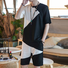 Black and white color matching 2 Piece Set Linen Short Sleeve Chinese Style Casual Tracksuit Men Summer Shorts