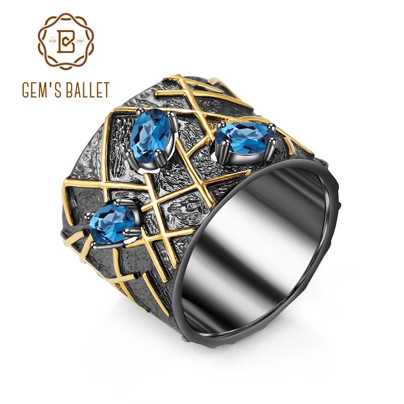 GEM'S BALLET Natural London Blue Topaz Gemstones Fine Jewelry 925 Sterling Silver Original Handmade Cross Line Rings for Women