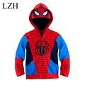 LZH Meninos Jaqueta Casaco de Homem Aranha Para Crianças Crianças Outerwear Jaqueta Com Capuz 2016 Outono Inverno Nova Moda Meninos Roupas Dos Desenhos Animados