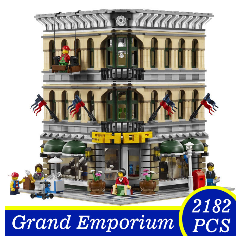15005 2182pcs City Creator Grand Emporium Model Building Blocks Brick Toys Children Gifts Compatible  LEPIN 10211 superwit 72pcs big size city diy creative building blocks brick compatible with duplo sets lepin educational toys children gifts