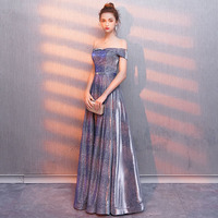 Real Photos Tulle Crystal Royal Blue Color Party Occasion Formal Long Evening Dress 2019 Suosikki