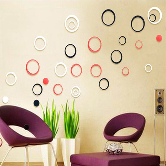DIY Circles Stickers Indoors Decoration Stereo Removable 3D Art Wall Stickers Pegatinas De Pared Stickers Muraux Pour Enfants