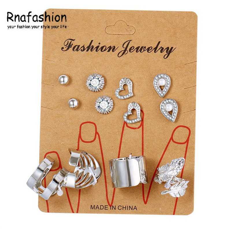 RNAFASHION 8 pcs/ set New Gold Color Crystal Heart Earrings for Women Silver Color Water Drop Leaf Rings Engagement Jewelry Set