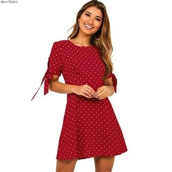 BornToGirl Women Casual Chiffon Polka Dot Dress female Spring Summer Short Sleeve Black Red Green Dress robe femme ete 2019 polka dot