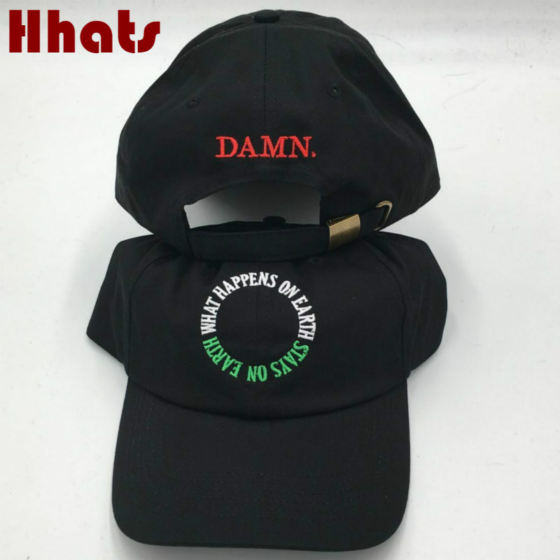 which in shower Embroidered DAMN. Hat WHAT HAPPENS ON EARTH STAYS ON EARTH DAMN Dad Hat Hip Hop Snapback Baseball Cap Women Men which in shower rapper black stitched 11 11 dad baseball cap embroidered women men adjustable strapback golf hip hop hat bones