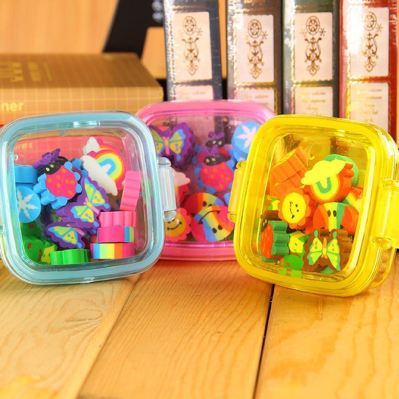 20Pcs/set Kawaii Cute Rubber Eraser Kid Gift School Supplies Stationery Borracha Material Escolar Utiles Escolares Papelaria