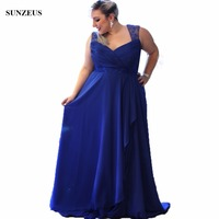 A line Sweetheart Pleated Plus Size Mother Of The Bride Dresses Long Royal Blue Chiffon Women Formal Gowns With Lace Strap CM007