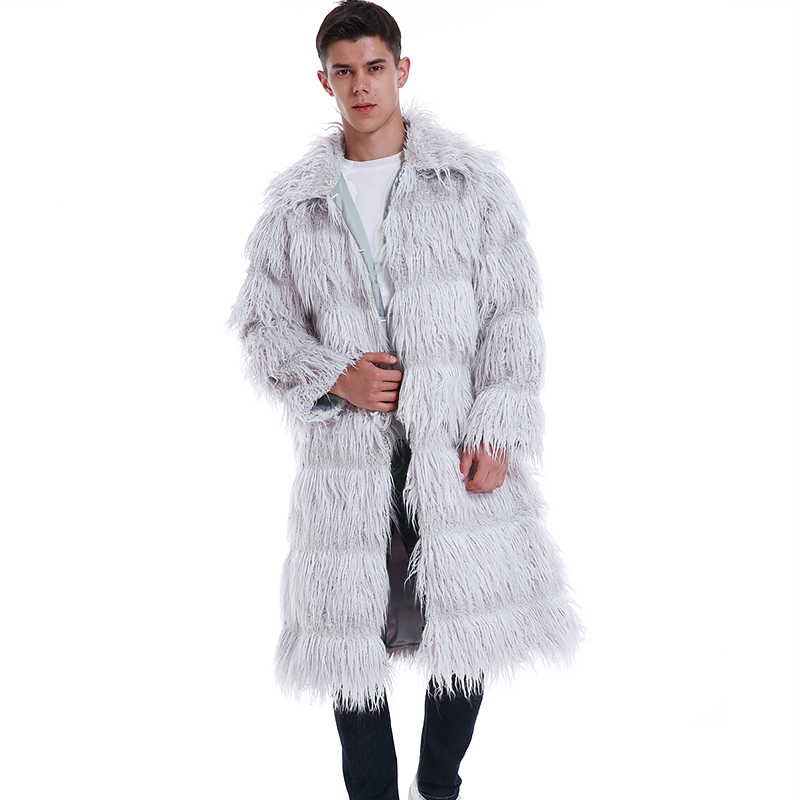 Oversized Winter Men Long Trench Coats Thicken Warm Fur Furry Overcoats With Pockets Faux Fur Shaggy Turn-down Collar Jackets