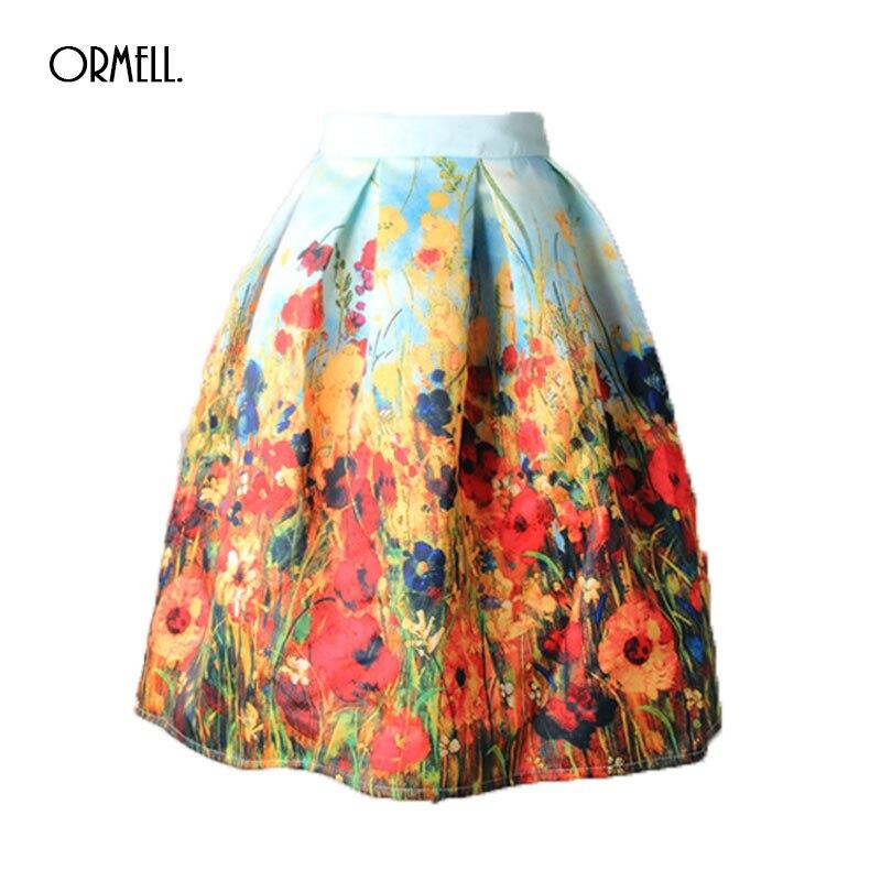 37a167de0 Ormell verano floral impresión falda vintage plisado patinador Faldas moda  2017 alta cintura Ball gown mujeres falda elegante SAIA - Blog Store
