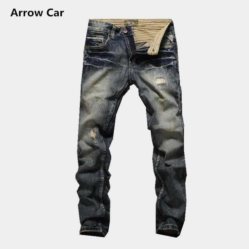 Fashion Hole Mens Jeans Retro Old Classic Yellow Slim Small Straight Jeans Trousers High Quality Jeans Casual Pants