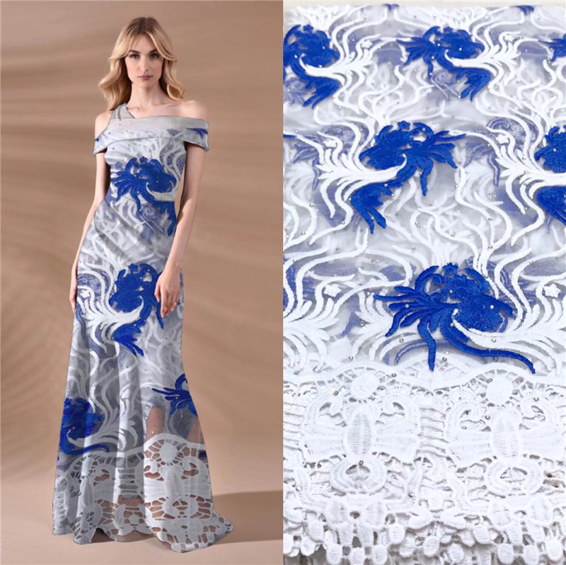2019 Graceful African Guipure Lace Fabric High Quality Embroidered Nigerian Fabrics With Rhinestones French 527