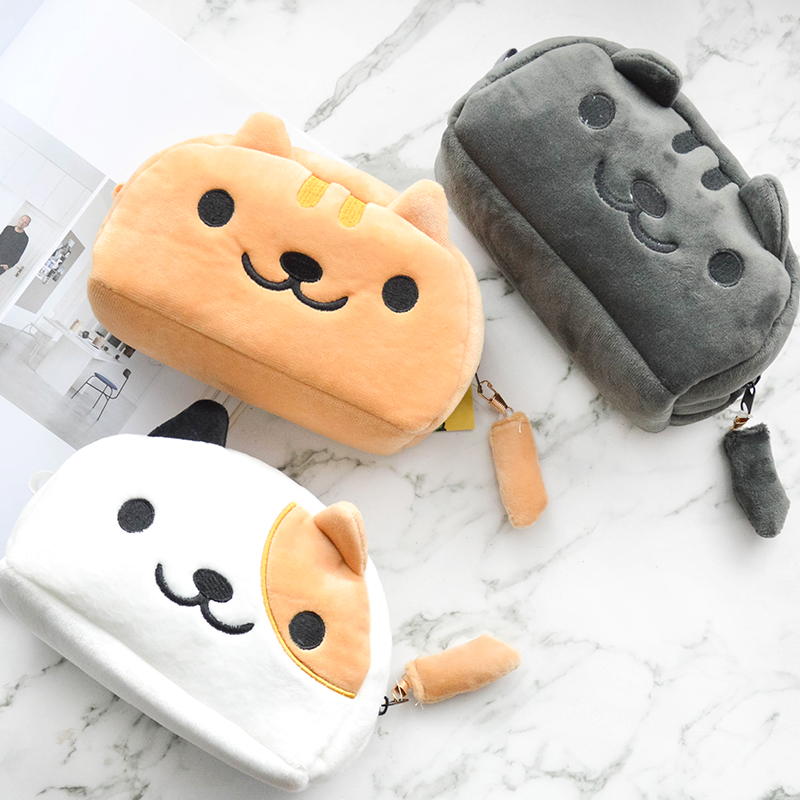 Cartoon Plush Pencil Case School Supplies Kawaii Cat Pen Bag Big Capacity Cosmetic Bag  Stationery Pouch Gift Canetas