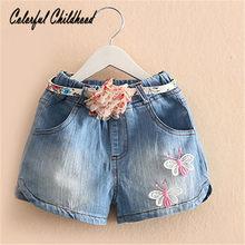 3-10Yrs Doce princesa meninas denim curto borboleta bordado bermuda + cinto cozy denim calças crianças roupas de verão