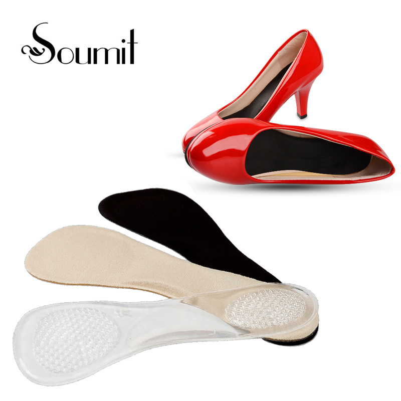 Soumit 3/4 Length Invisible Silicone Gel Orthopedic Insoles for Women High Heels Arch ...
