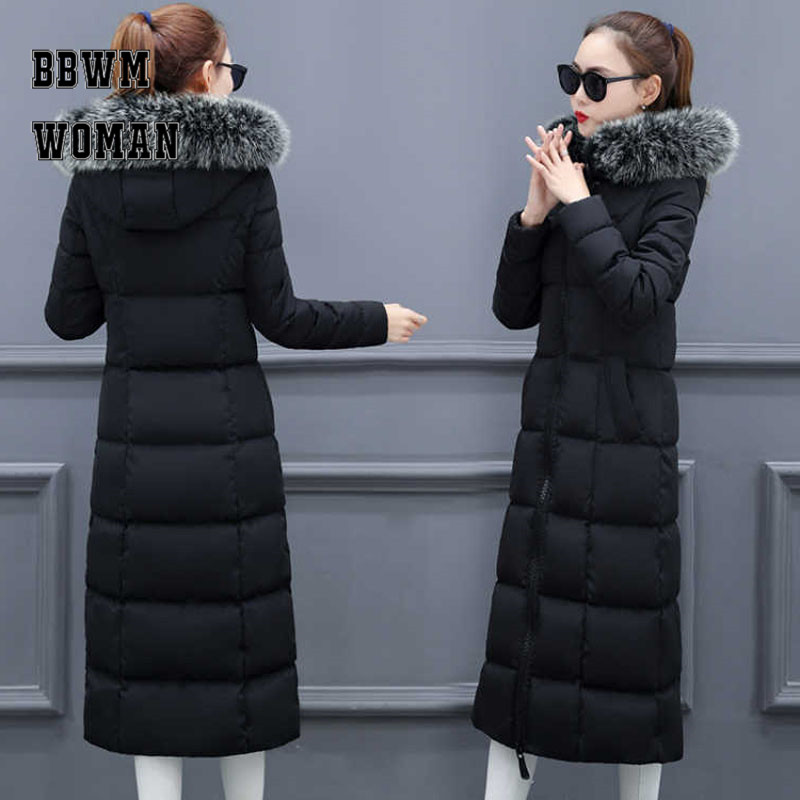 Super Long Warm Big Fur Collar Down Cotton Coat Women Black Beige Red Color Bread Style Female   Parkas   ZO1772