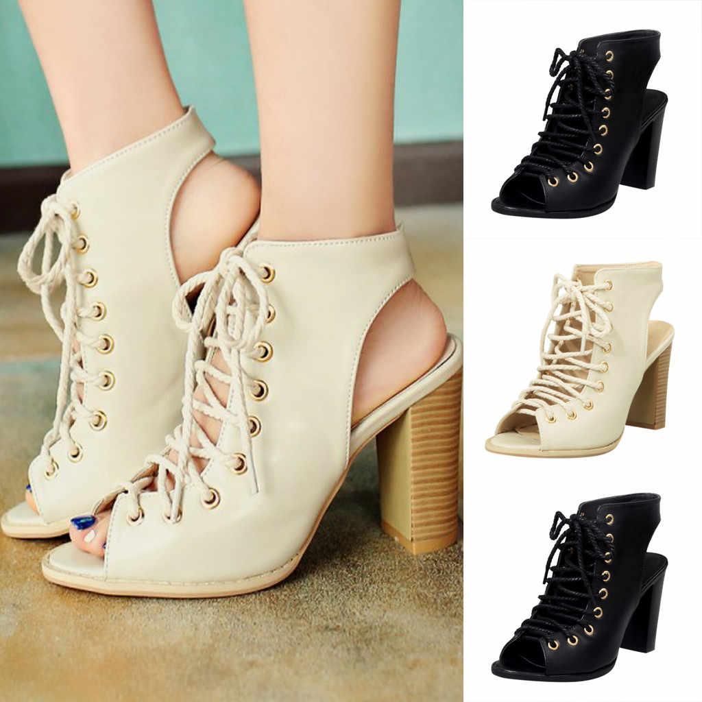 Elegant Lady Square รองเท้าส้นสูงรองเท้าแตะปากปลากลับ Hollow Breathable รองเท้า Lace - Up ข้อเท้ารองเท้าโรมัน