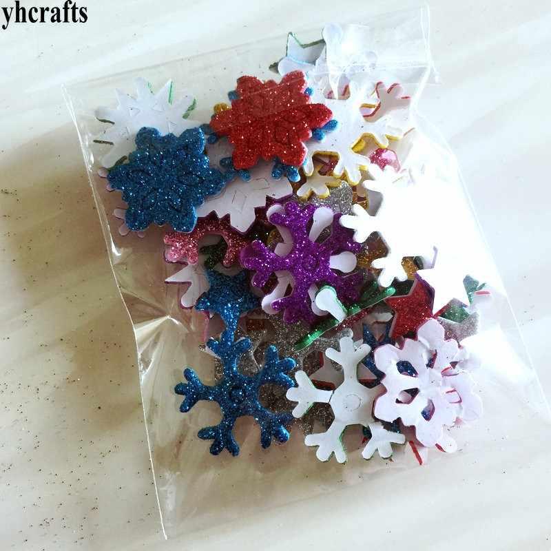 50PCS/LOT.Mix color glitter snowflake foam stickers Xmas crafts Activity items Kids room decoration Decorative christmas diy toy