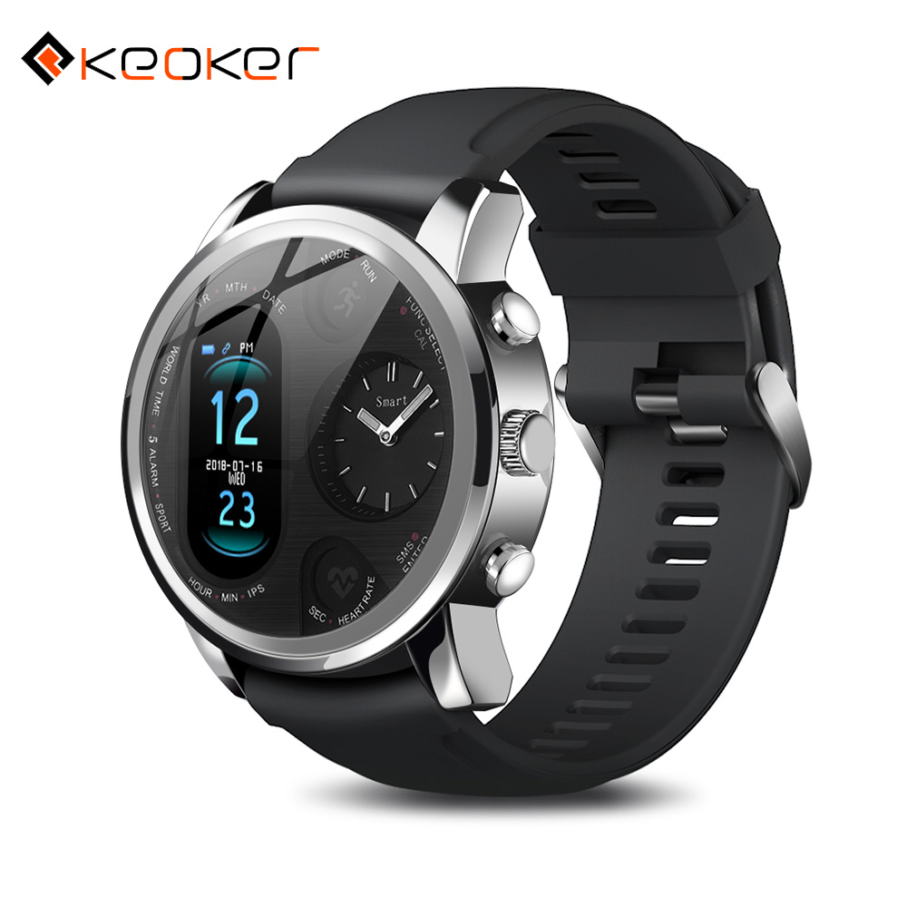 Keoker Smart Watch Men Business Dual Time Zone Display Heart Rate Monitor Fitness Tracker Waterproof Watch