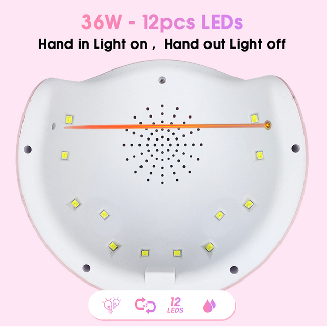 36W UV Led Lamp Nail Dryer For All Types Gel 12 Leds UV Lamp for Nail Machine Curing 30s/60s/99s Timer USB Connector 6