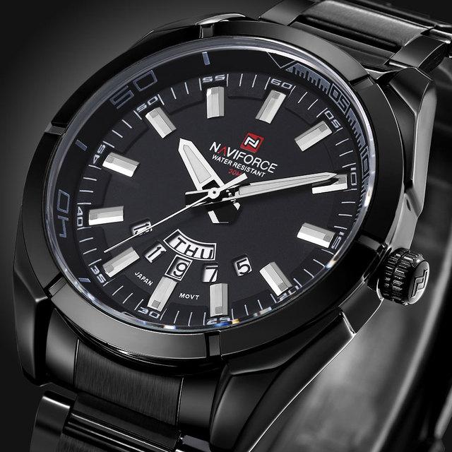 NAVIFORCE Homens de Aço Cheio Relógios Homens Top Marca De Luxo de Quartzo Relógio À Prova D' Água Esportes Homens Relógio Populares Relógios relogio masculino