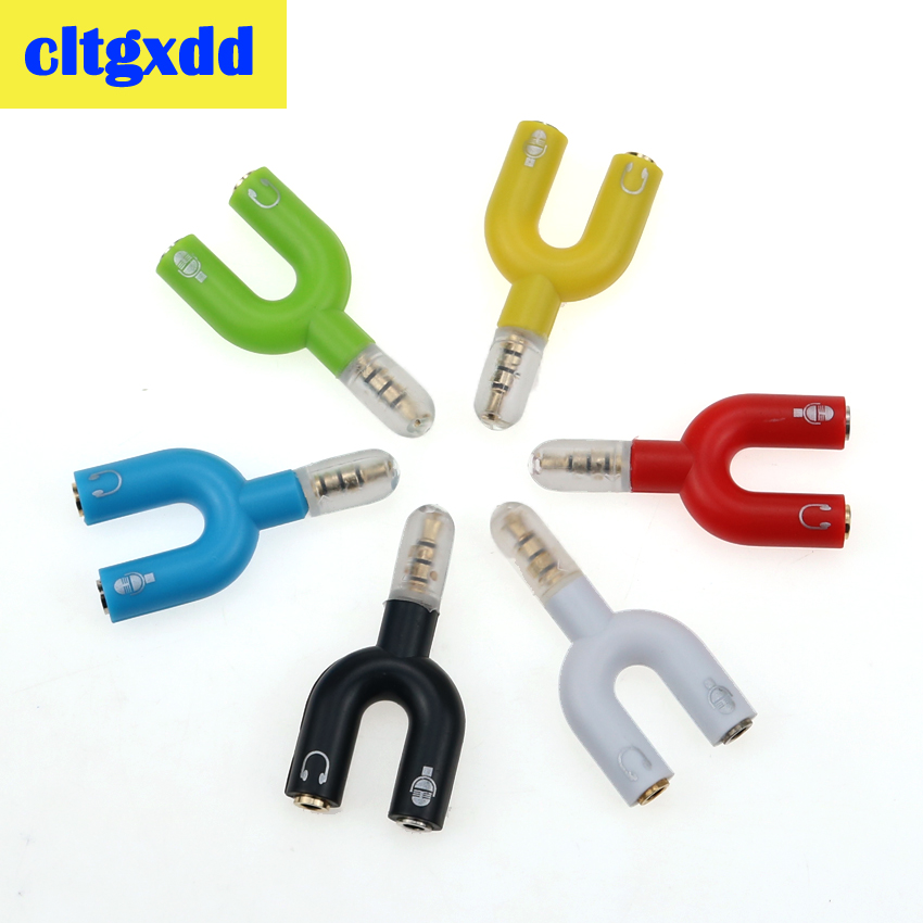 Cltgxdd Headset Adapter Kit U Shape 3.5mm For Audio Headphone Share For MIC Walkman  IPod Portable CD DVD MP3