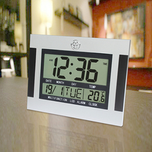 Large LCD Digital Wall Clock Table kitchen Watch horloge Mural wandklok Electronic Desk Nixie Alarm Clock Temperature Calendar