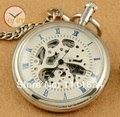 Archaize Roman Num Skeleton Hand winding Mechanical Pocket Watch Steampunk Chain