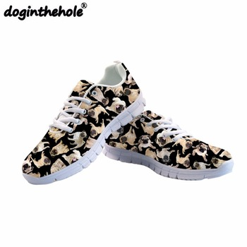 doginthehole Man's Sport Shoes Cute Pug Dog Printing Running Shoes Outdoor Fitness Comfortable Mesh Flats Sneaker Summer 2018