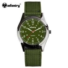 INFANTRY Men Quartz-watch Luminous Durable Nylon Strap Round Face Military Sport Army Watch 2017 Clock Casual Relogio Masculino