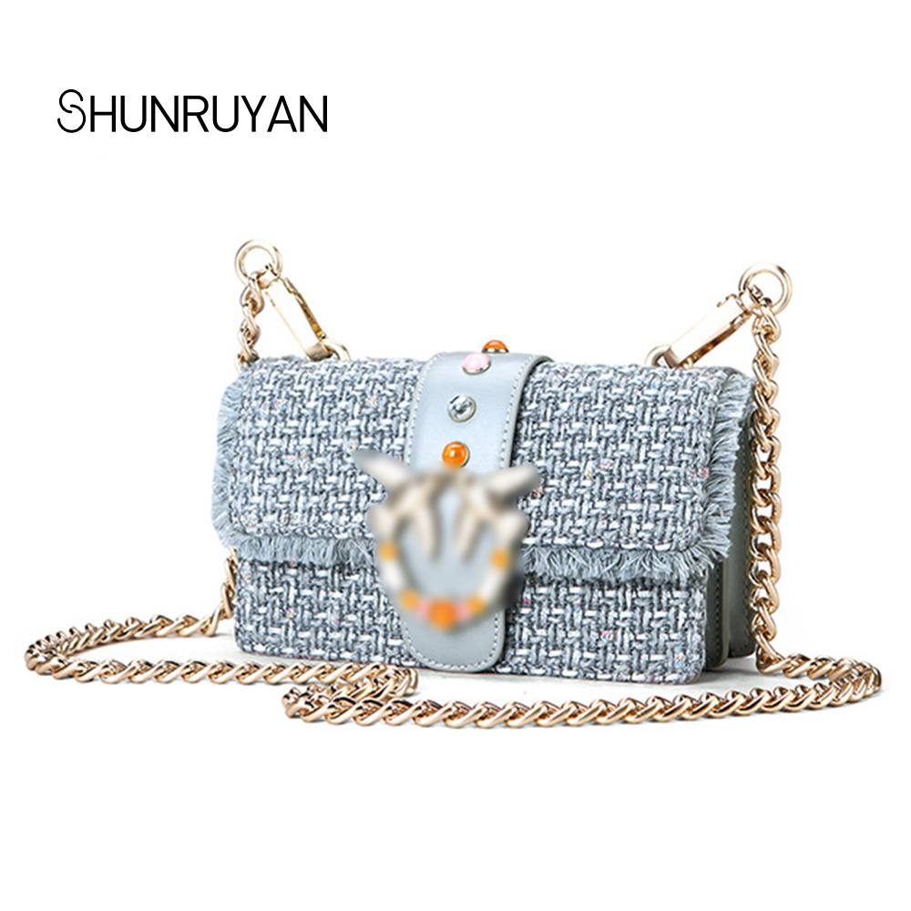 SHUNRUYAN Luxury Brand Design Bag for Women Cowhide Leather and Canvas Vintage Fashion Cross body Bag Shoulder Bags Party Bag casual aquarius print and canvas design shoulder bag for women