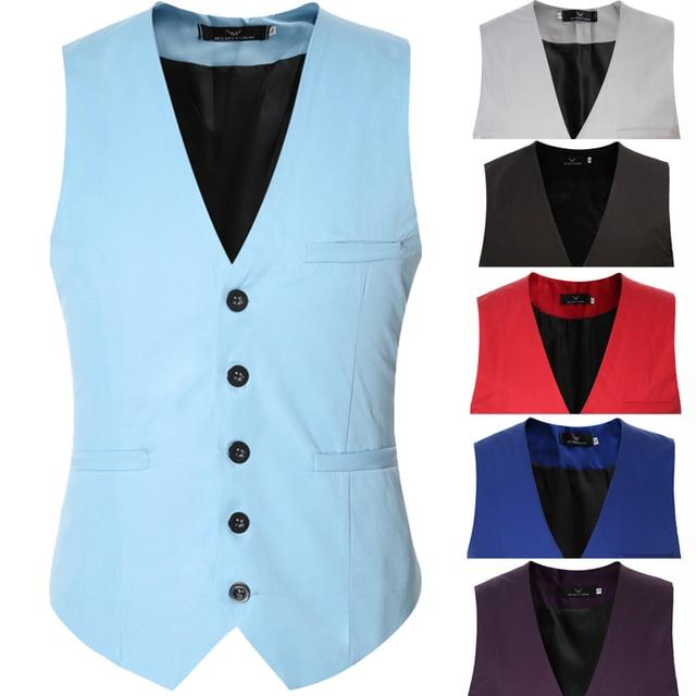 XXXL Plus Size Colored Causal Slim Sleeveless Blazer Jacket Formal Business Waistcoat Men Suit Vest Purple Green Red Black Brown