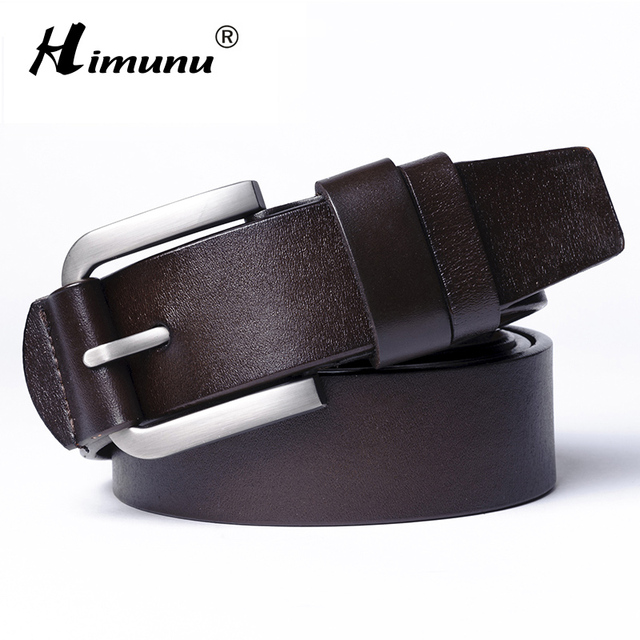 [HIMUNU] Brand 100% Newest Designer Belts Men High Quality Cowhide Genuine leather vintage pin buckle luxury ceinture Mens belts