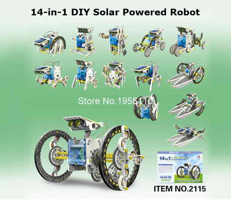 new 14 in 1 solar robot kit educational solar power robot diy toy assembled toys for kids car boat animal diy robot