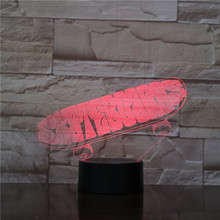 Skateboard 3d Usb Led Night Light Decoration Bedroom 7 color changing Acrylic Atmosphere Skateboard Accessories visual Led Light