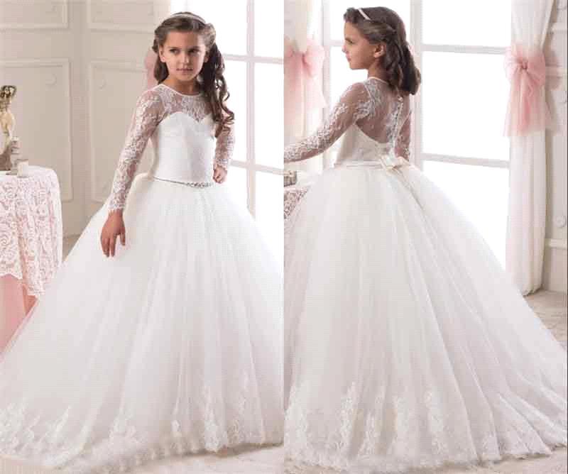 098221e49ac Hot Sale 2017 Long Sleeve Flower Girl Dresses for Weddings Lace First  Communion Dresses for Girls Pageant Dresses White Ivory-in Flower Girl  Dresses from ...