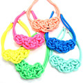 ANL0191(1), 16 Colors Statement Fashion Neon Color Thick Ropes Knitted Chunky Knot Necklace