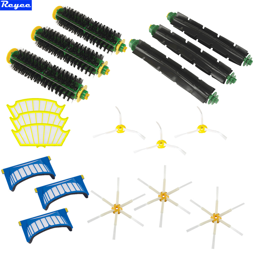 3pcs Each 3-Armed Brush & Bristle 6-Armed Side Brushes AeroVac Filter Kit For iRobot Roomba 500 Series 530 540 550 560 570 580 bristle brush flexible beater brush fit for irobot roomba 500 600 700 series 550 650 660 760 770 780 790 vacuum cleaner parts