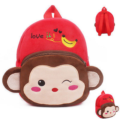 Kids New Cute Cartoon Monkey Animal Children Plush Minions Kt Messenger Bag Short Bookbag